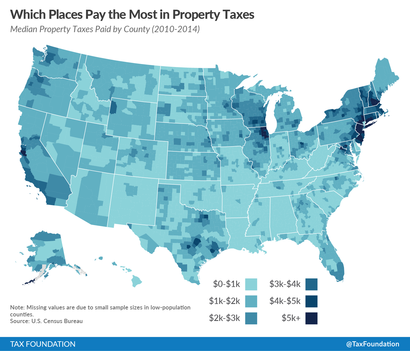 median property taxes by county