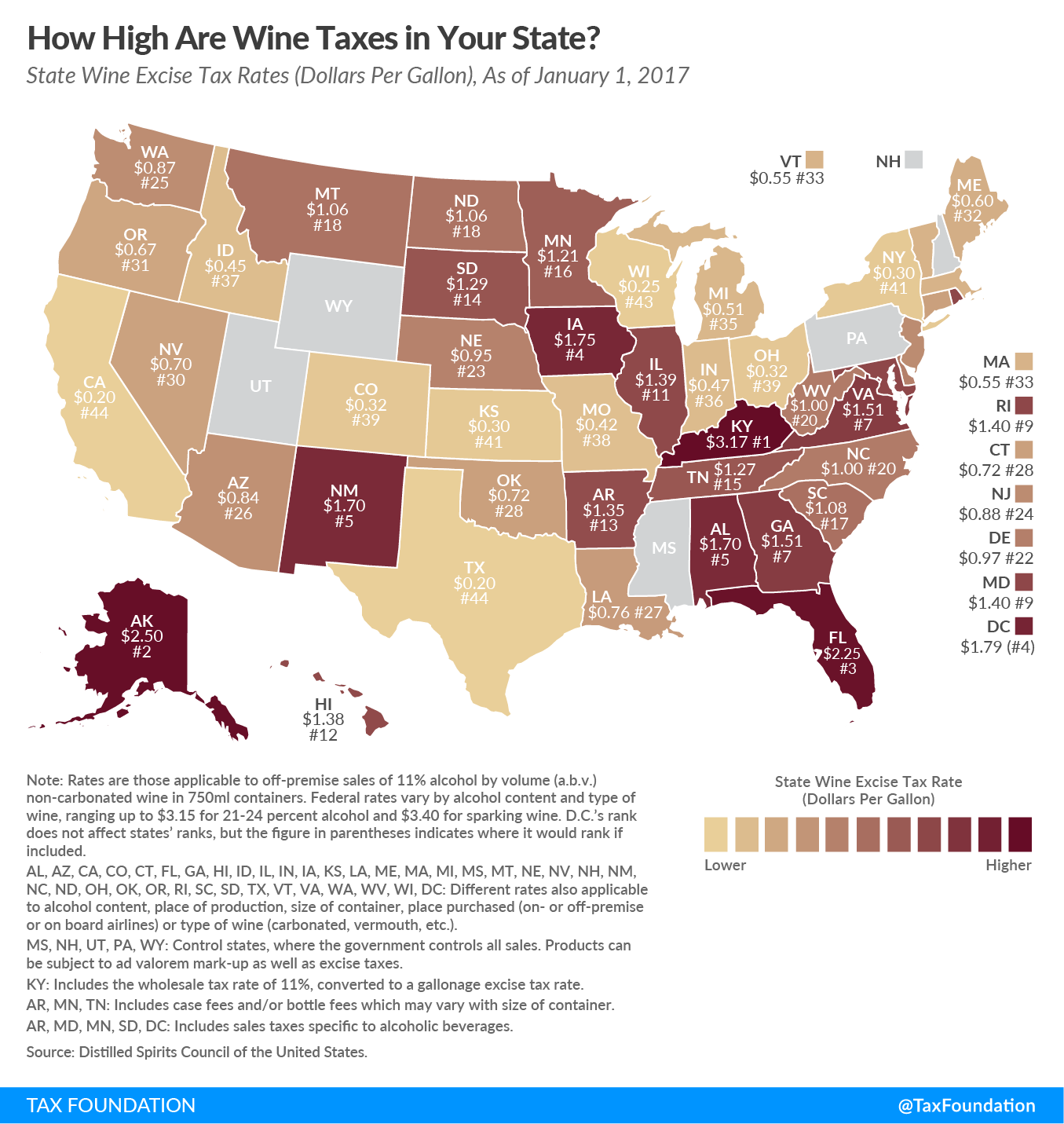 New York State Sales Tax Rate >> How High Are Wine Taxes In Your State? | Tax Foundation