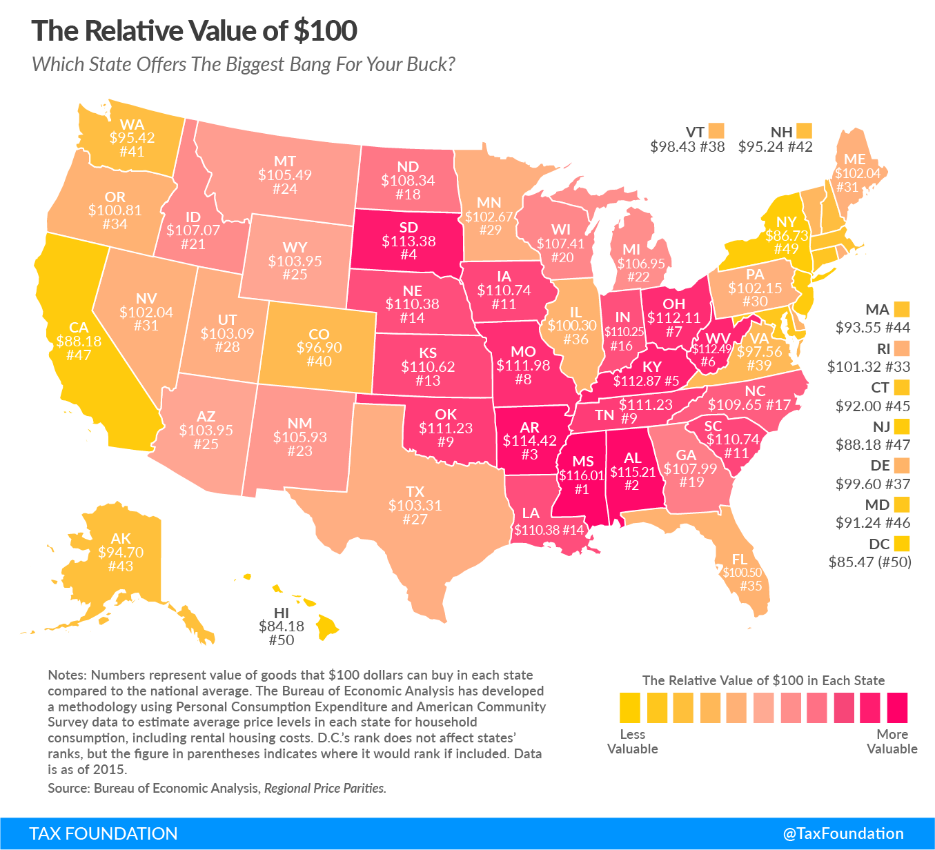 Real Value of $100 State Map 2017