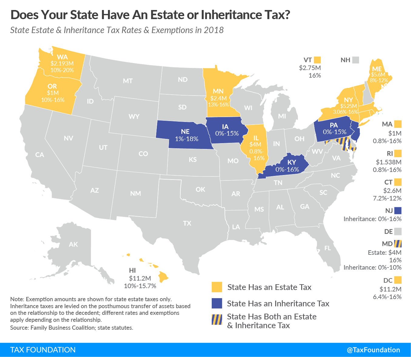 State Estate Tax Inheritance Tax Map 2018