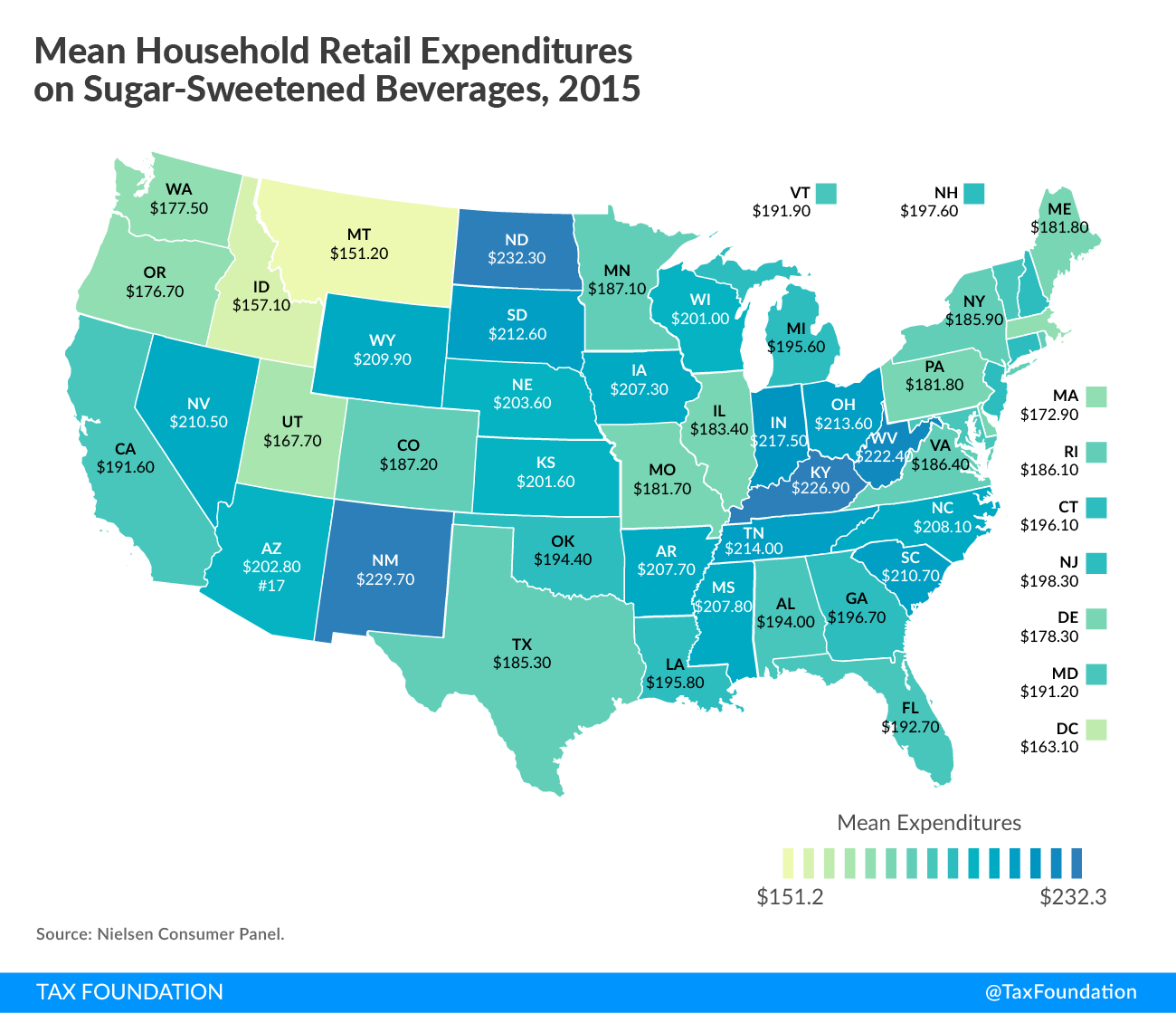 Mean Household Retail Expenditures on Sugar-Sweetened Beverages Map