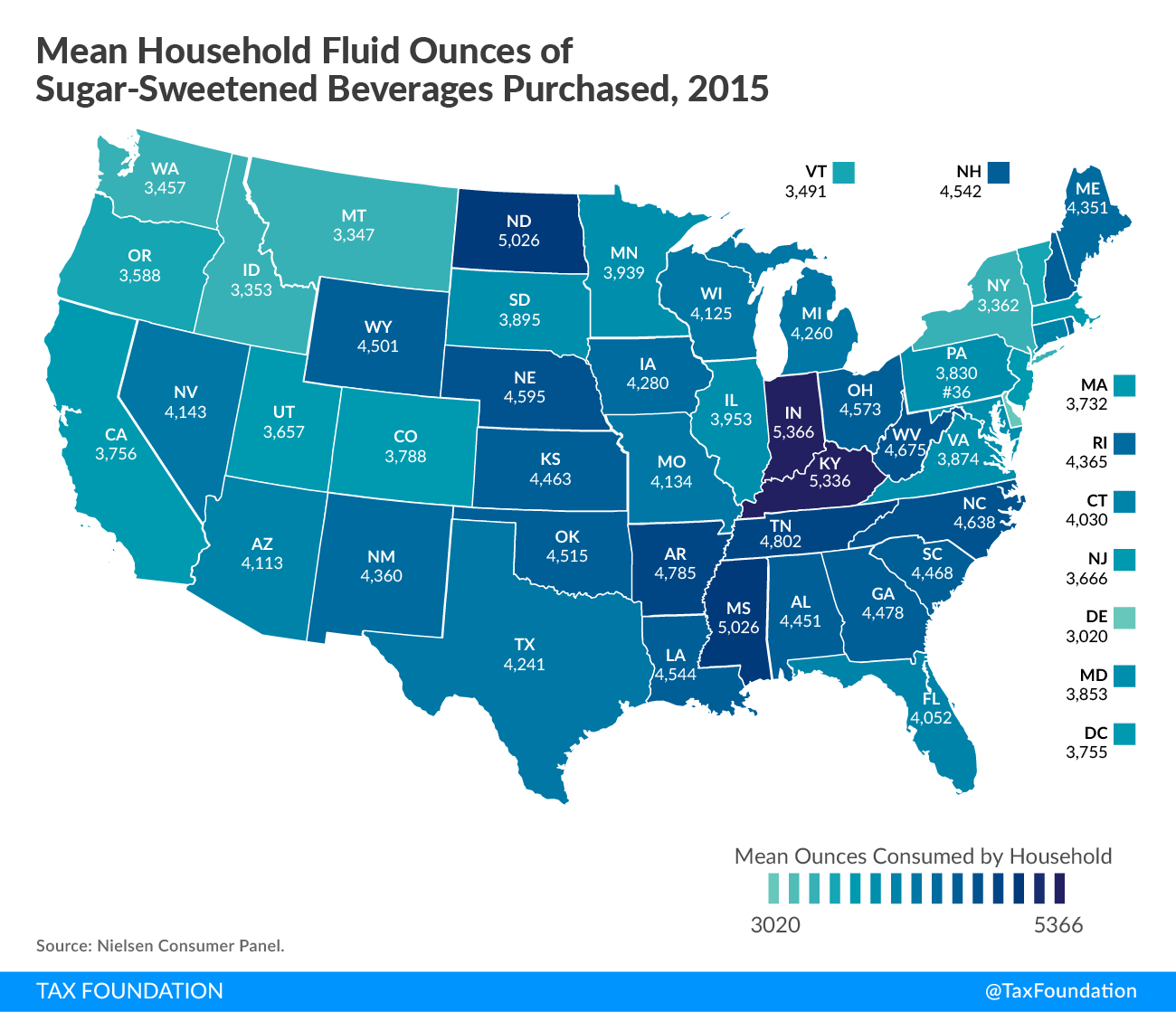 Mean Household Fluid Ounces of Sugar-Sweetened Beverages Purchased Map