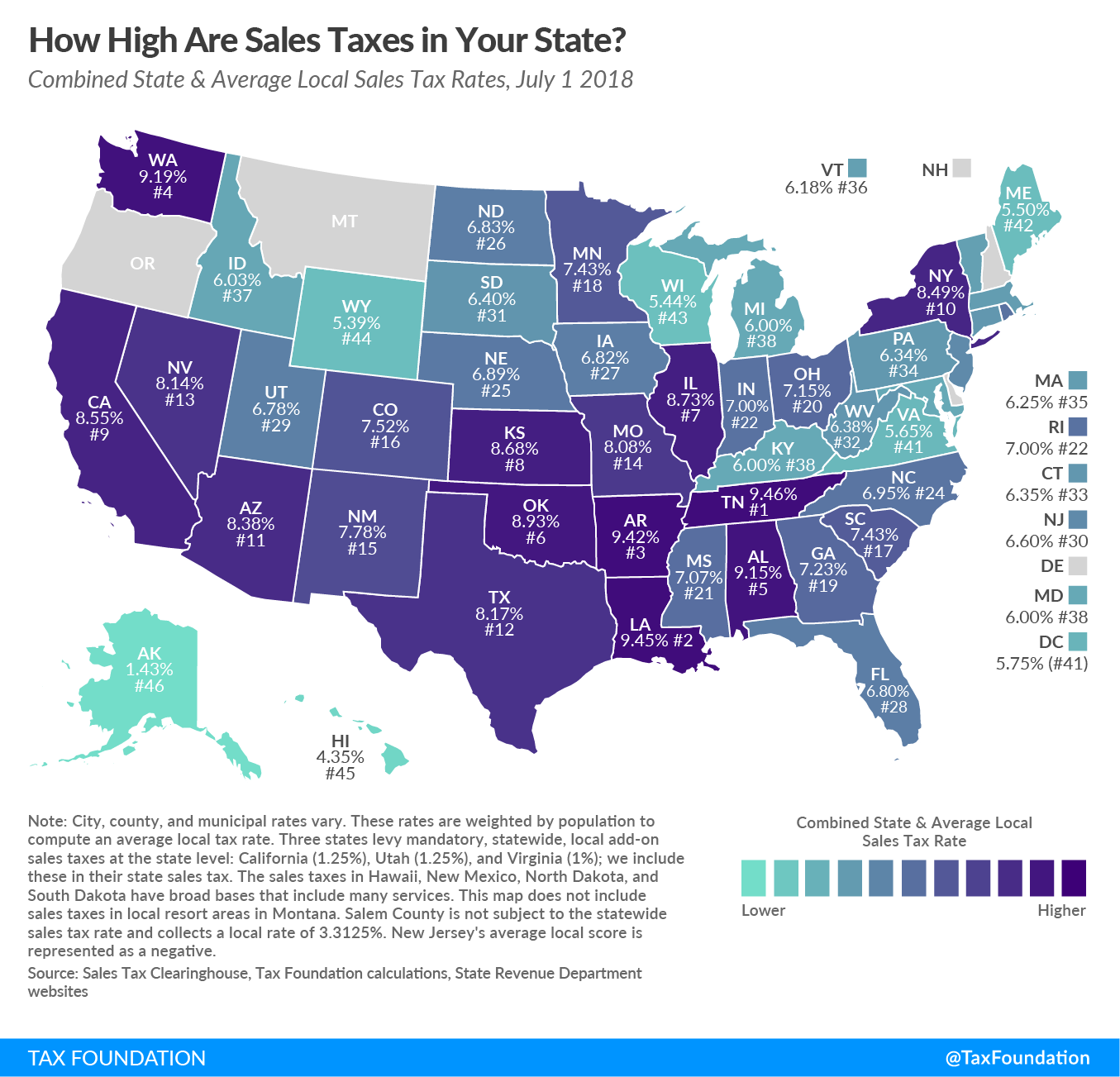 Combined state and average local sales tax rates, July 1, 2018