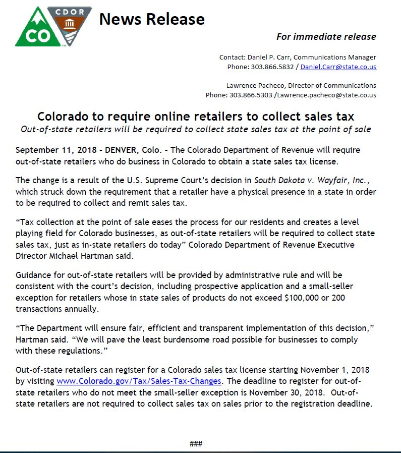 Colorado-Online-Sales-Tax-Collection-Press-Release