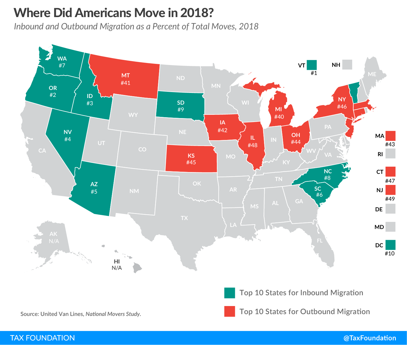 Where did Americans move in 2018? states where people moved out of in 2018. Worst outbound migration states