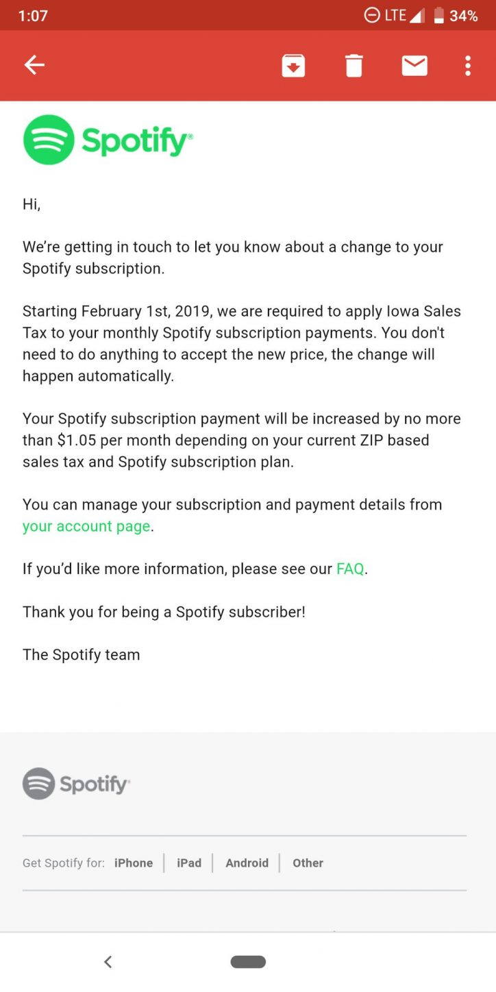 Spotify Mixes Up Tax Notices to DC and Iowa Subscribers, Spotify sales tax, streaming services sales tax, digital streaming tax