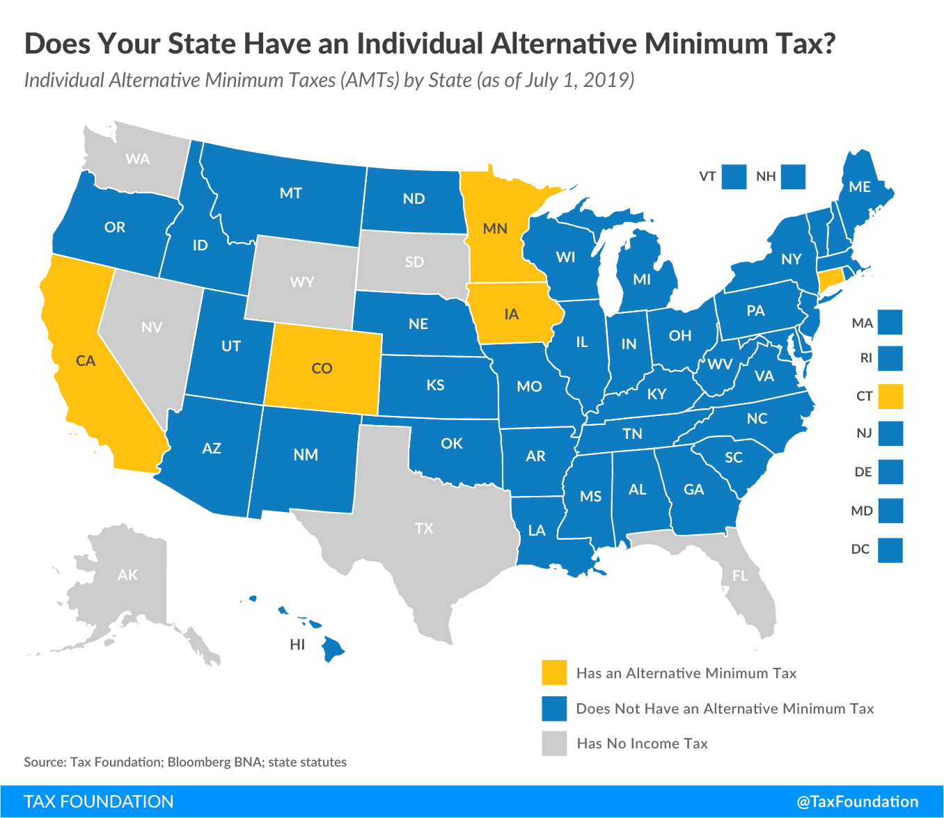 state individual alternative minimum tax, state individual alternative minimum taxes, state individual AMTS 2019, state AMTs