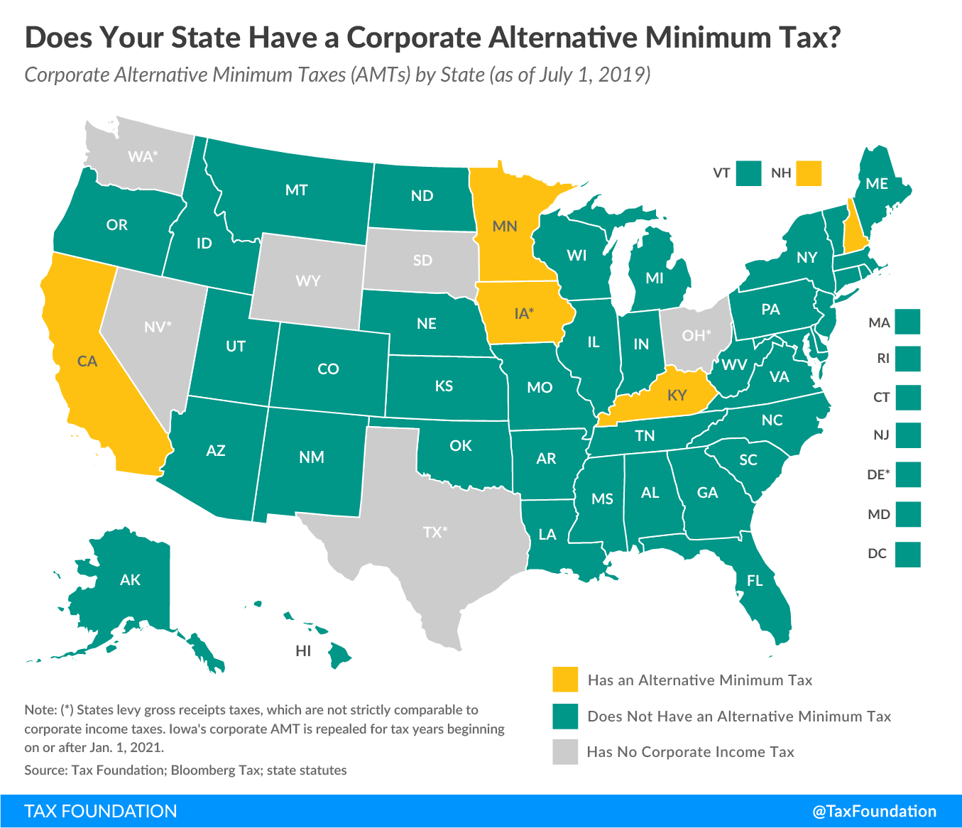 Corporate alternative minimum tax, corporate AMT, state corporate alternative minimum tax. State corporate AMT, which states have a corporate alternative minimum tax?