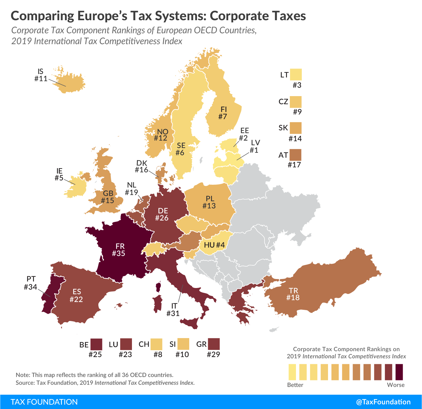 Worst corporate tax systems in the OECD, best corporate tax systems in Europe, best corporate tax systems in the OECD, Worst corporate tax systems in Europe, Best corporate tax systems in Europe, worst corporate tax codes around the world