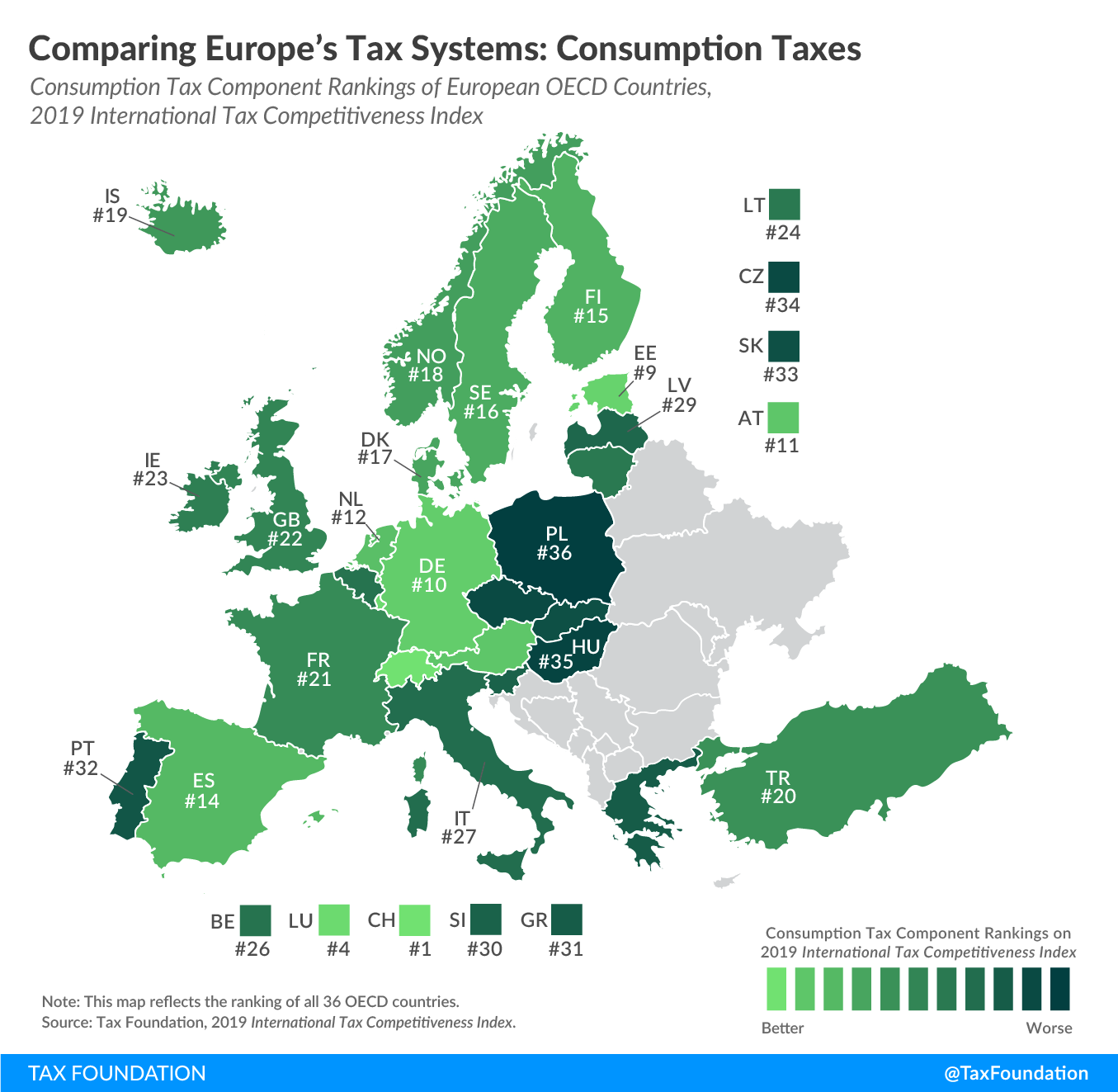 worst consumption tax system in the OECD, worst consumption tax system in Europe, best consumption tax system in Europe, best consumption tax system in the oecd