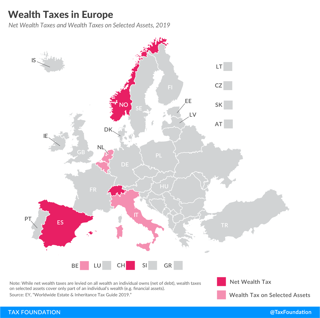 Wealth taxes in Europe include a Norway wealth tax, Spain wealth tax, Switzerland wealth tax, Belgium wealth tax, Italy wealth tax, and Netherlands wealth tax
