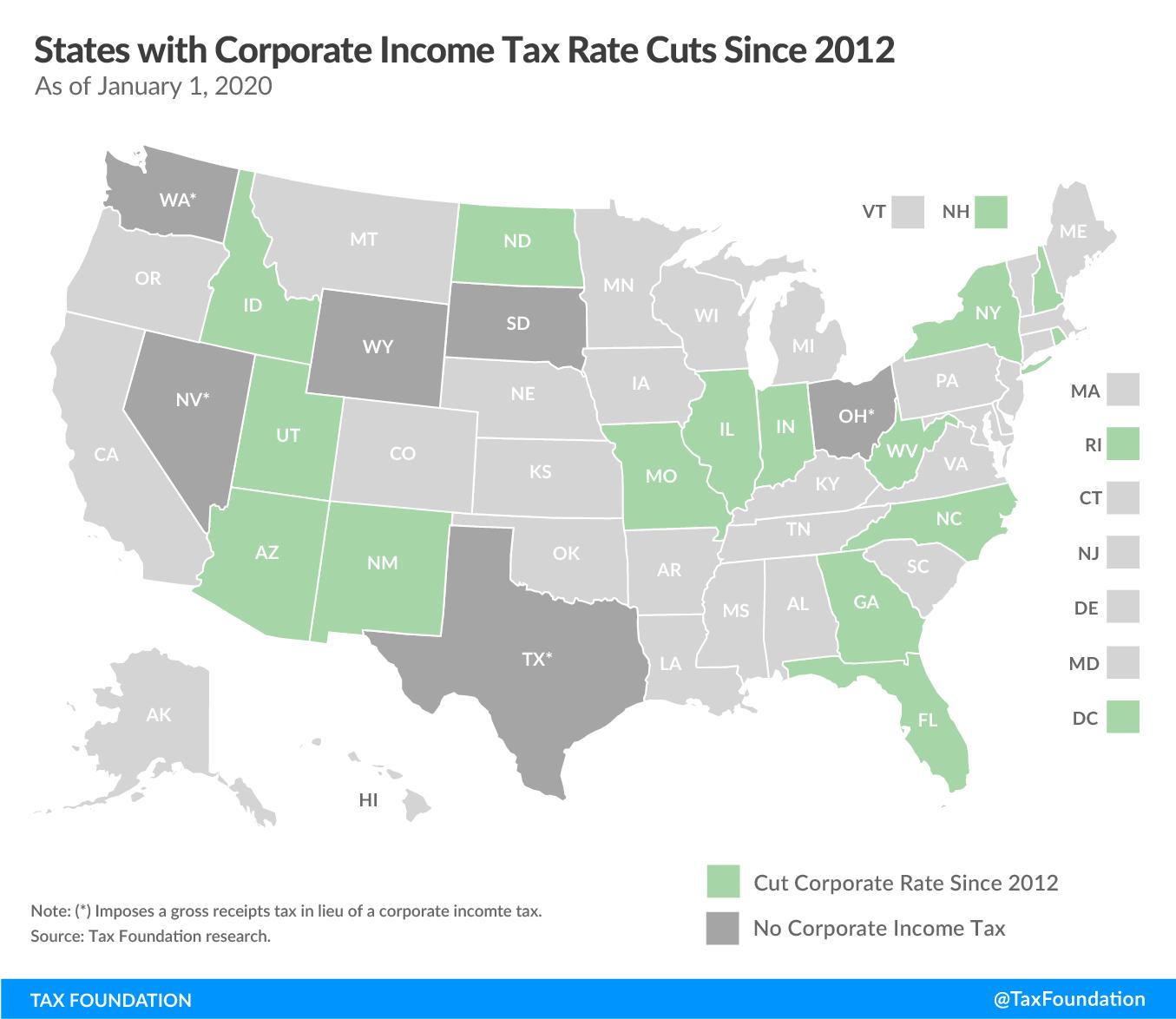 State corporate income tax cuts since 2012. State corporate tax cuts