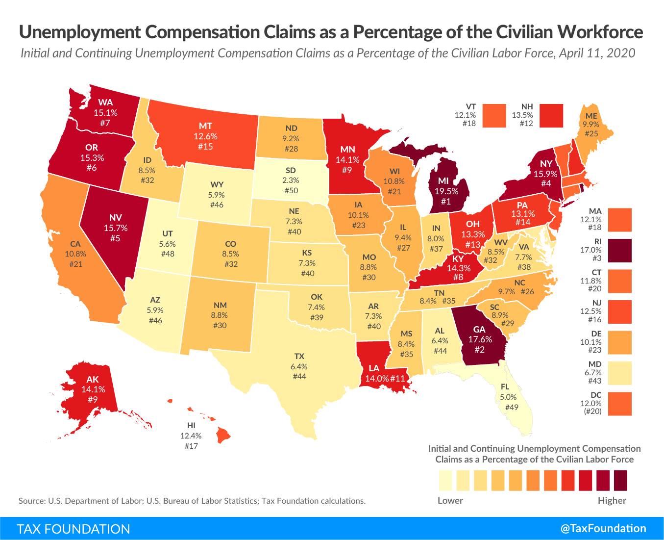 Approximately 10.6 percent of the U.S. civilian labor force has now applied for or is receiving unemployment compensation benefits, Number of jobless claims, us unemployment rate by state