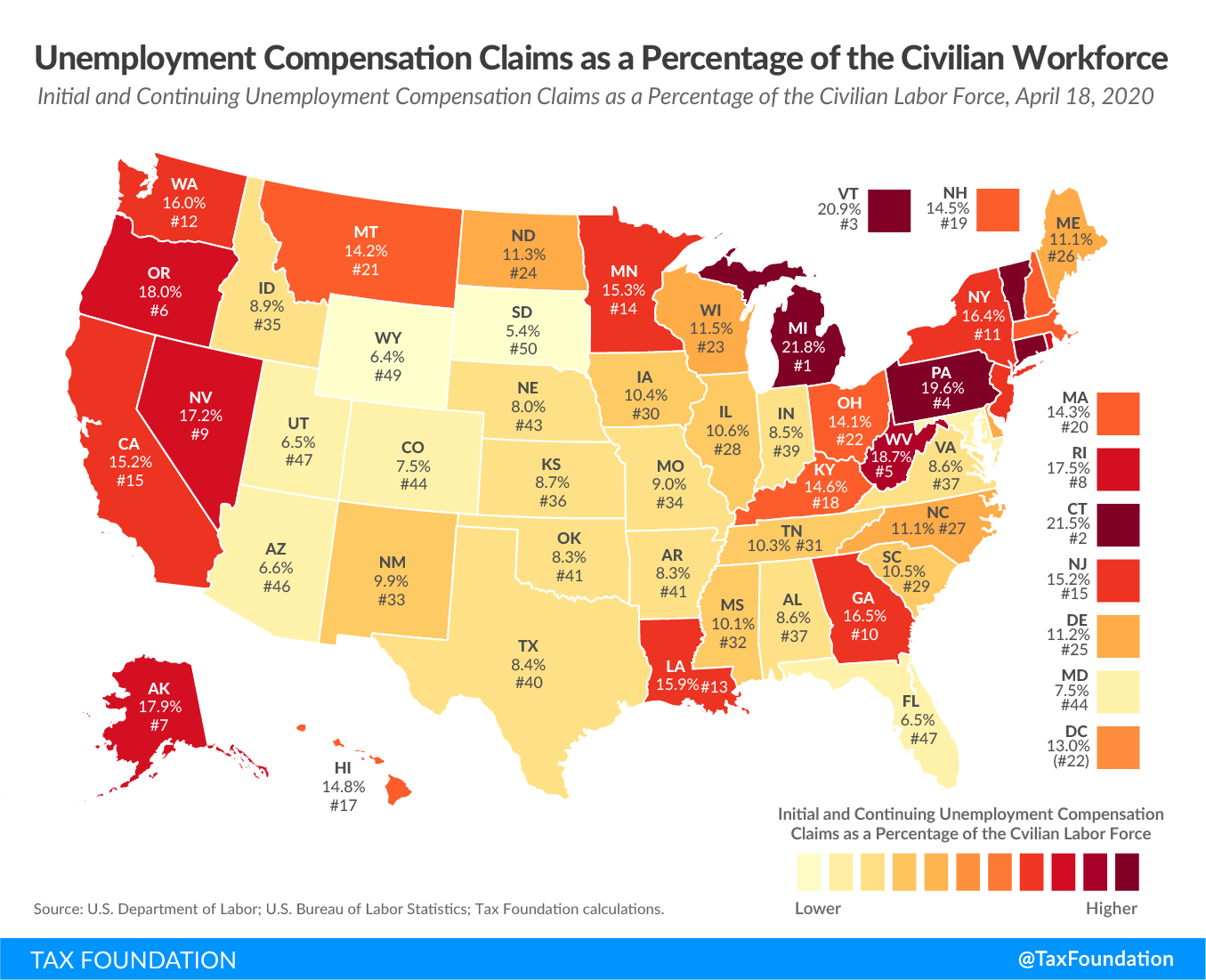 Approximately 12.5 percent of the U.S. civilian labor force has now applied for or is receiving unemployment compensation benefits (through April 18, the latest data) Percentage of jobless claims in the us workforce