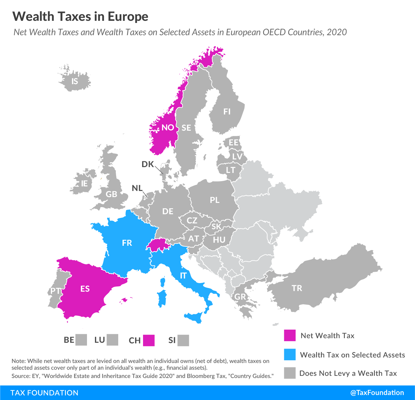 Wealth taxes in Europe, 2020. European countries with a wealth tax, net wealth tax, wealth tax on selected assets