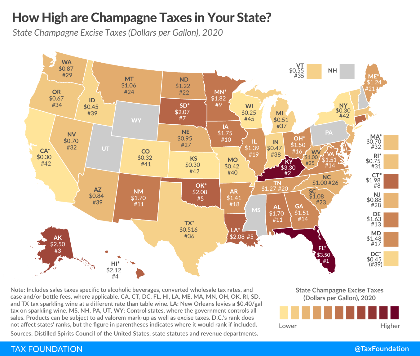 New Year's Eve and Taxes. New Year's Eve tax map. Champagne taxes by state