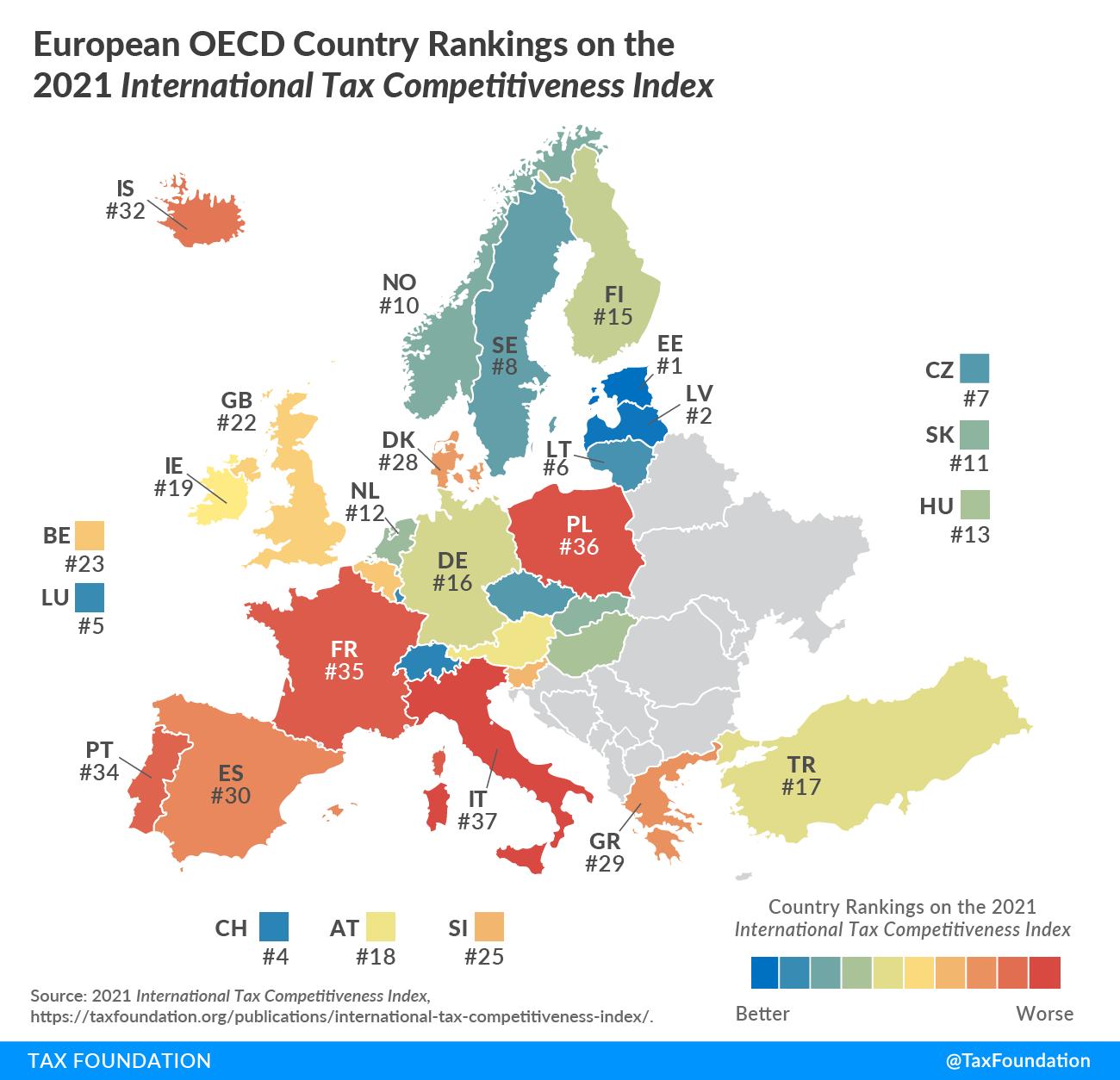 2021 International Tax Competitiveness Index Rankings in Europe, 2021 Global Tax Competitiveness Rankings, 2021 Global Tax Rankings in OECD Global Tax