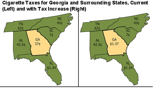 Map Of Georgia And Surrounding States.Georgia Should Refrain From Relying On Smokers To Fill Budget Hole
