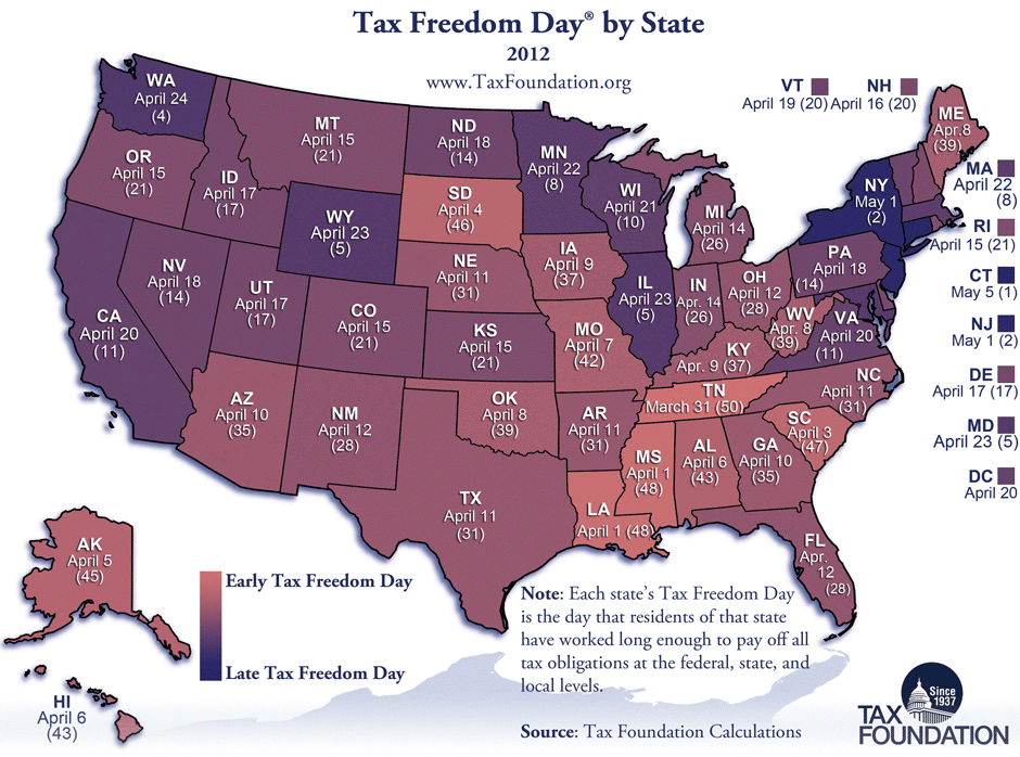 Tax Freedom Day Map