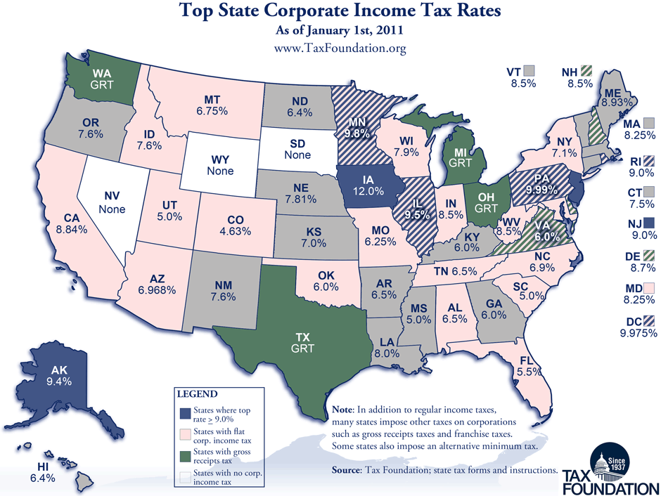 No State Income Tax States Map.Monday Map State Corporate Income Tax Rates Tax Foundation