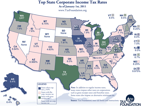 Map: Corporate Income Tax Rates