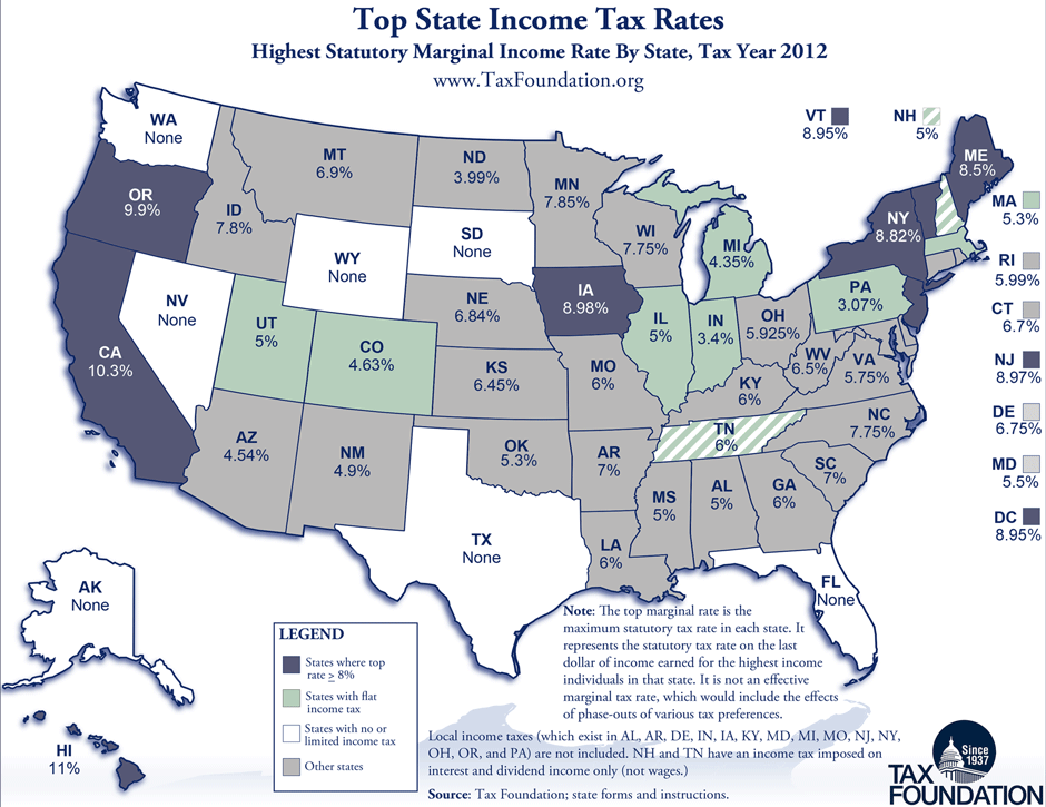 Monday Map: Top State Marginal Income Tax Rates, as of January 1st