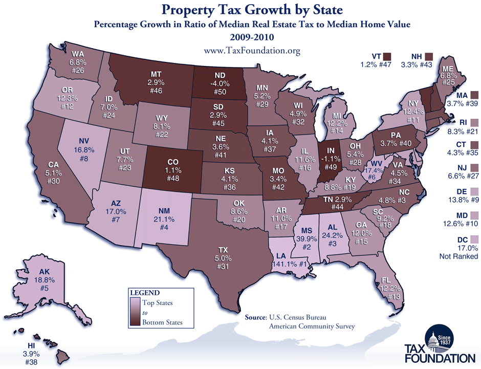 Monday Map Growth of Property Taxes by State Tax Foundation