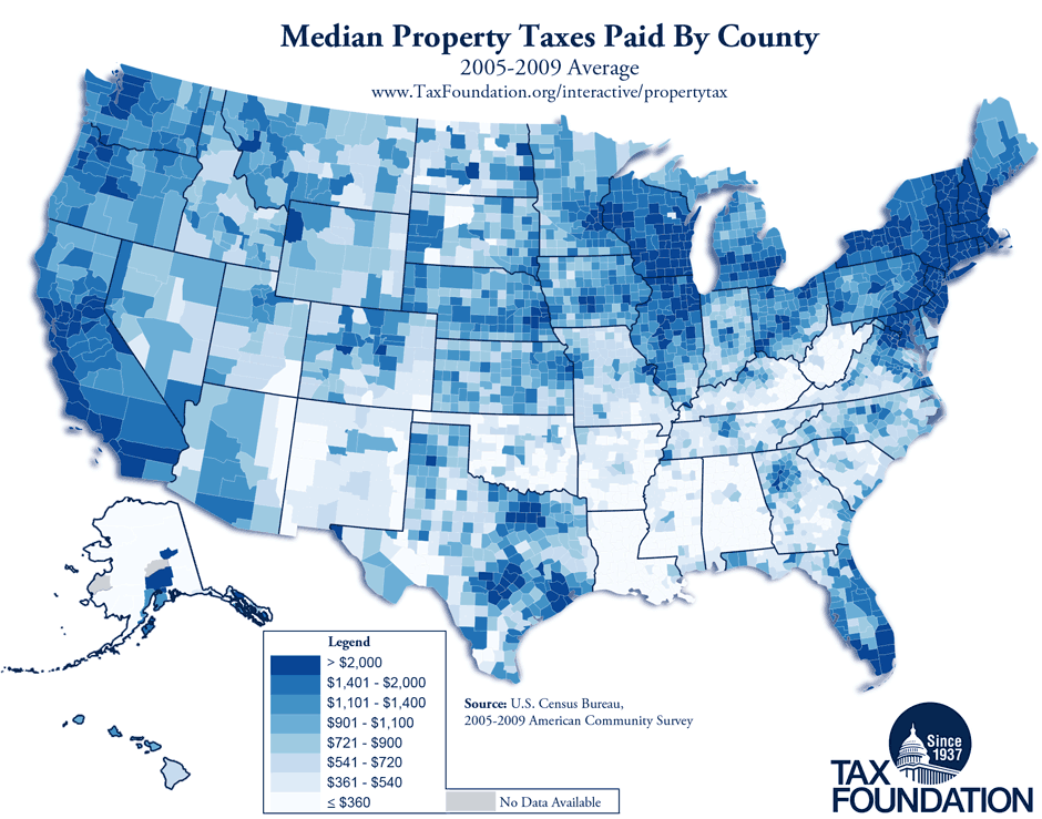Monday Map Property Taxes By County 2005 2009 Average Tax