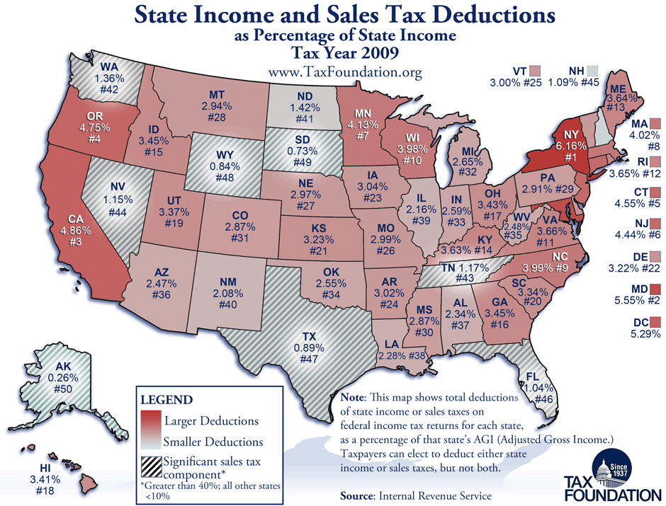 Nc State Sales Tax >> Monday Map State Income And Sales Tax Deductions Tax Foundation