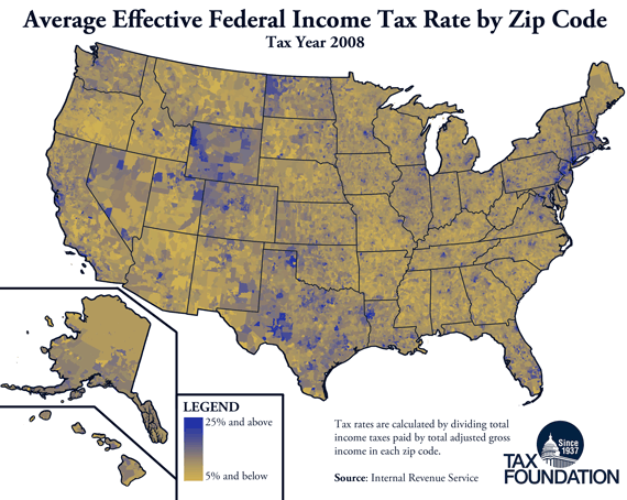 Monday Map Effective Federal Income Tax Rates by Zip Code Tax