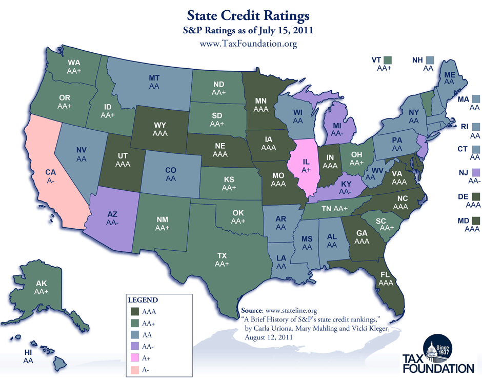California Tax Calculator >> Monday Map: State Credit Ratings | Tax Foundation