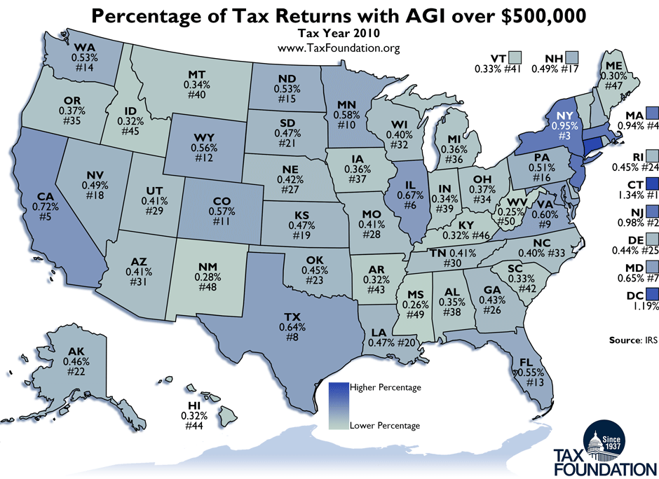 Monday Map Percentage Of Taxpayers With AGI Over Tax - Picture of a map