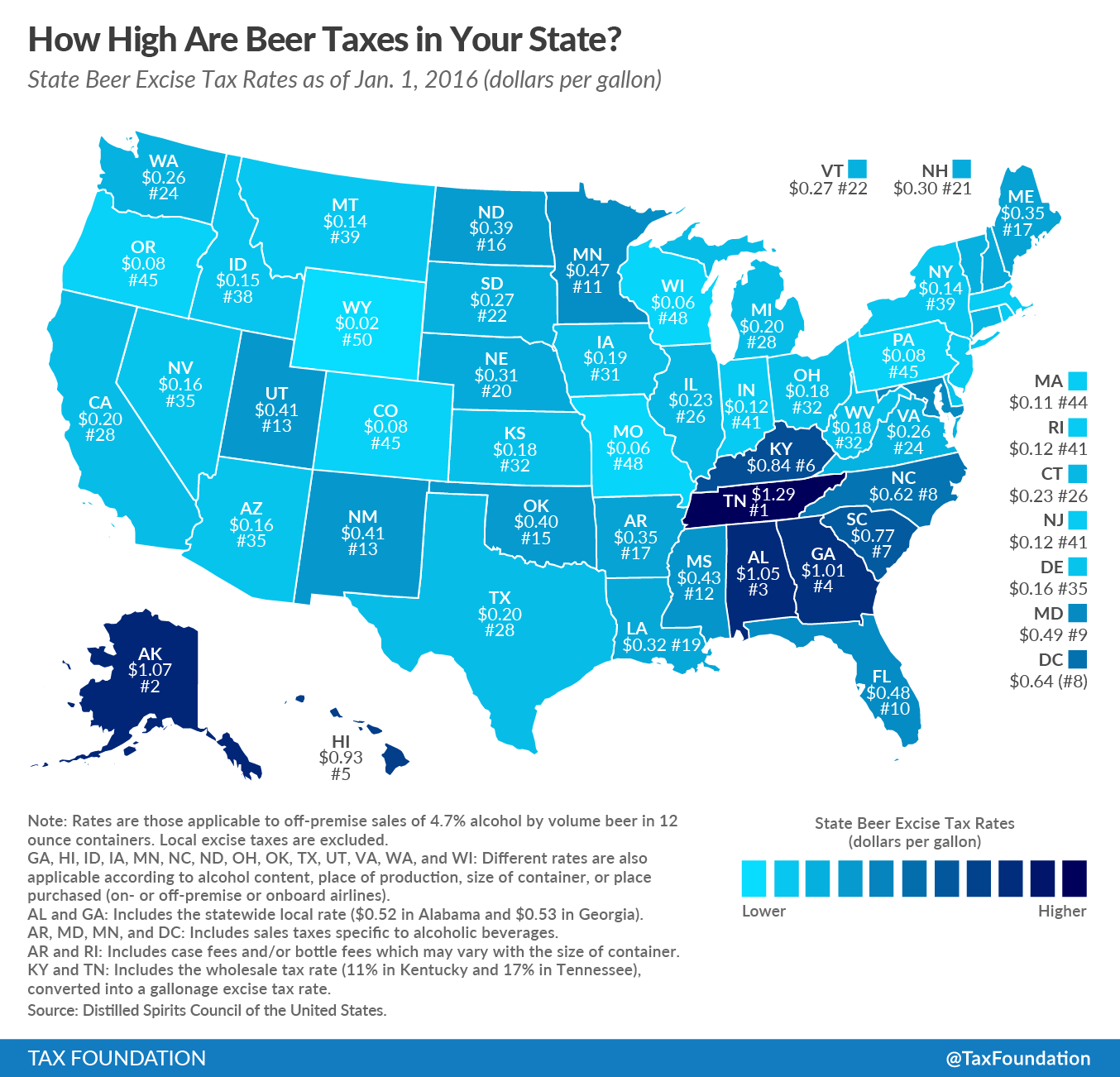 How High Are Beer Taxes In Your State Tax Foundation - Property tax map us 2016