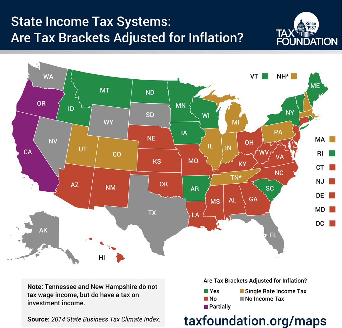 Monday Map: Adjustment Of State Income Tax Brackets For