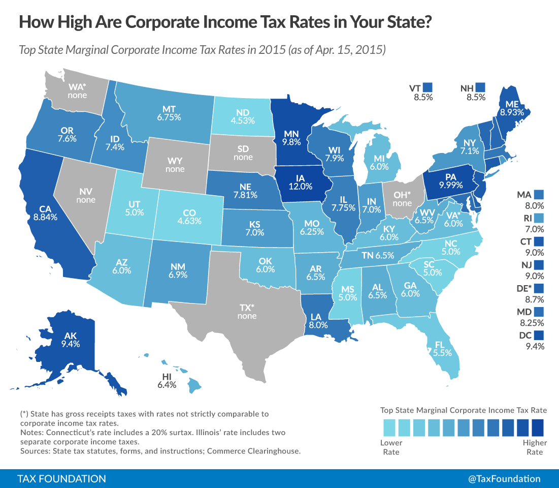 State Corporate Income Tax Rates and Brackets for 2015 - Tax ...