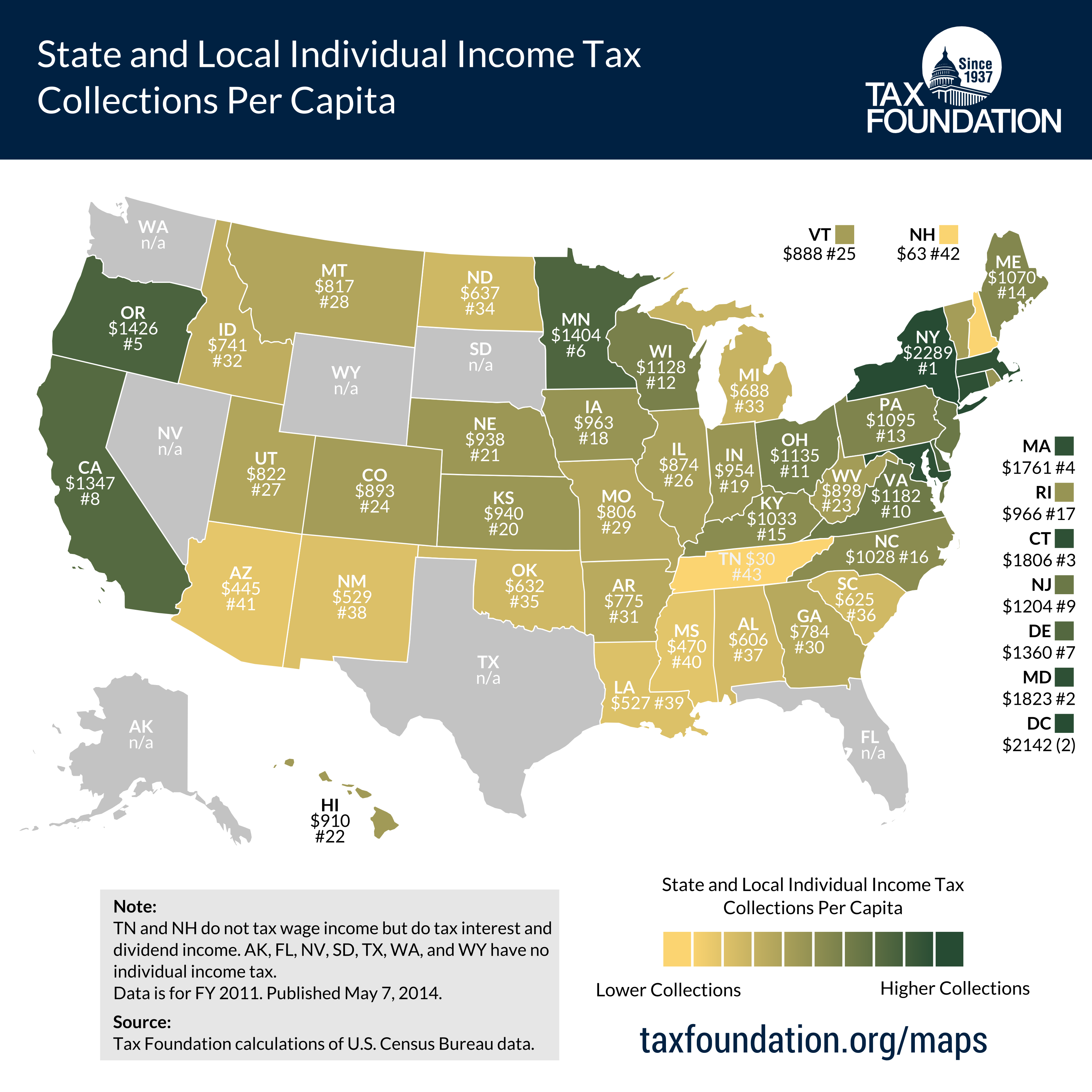 Map: State and Local Individual Income Tax Collections Per Capita