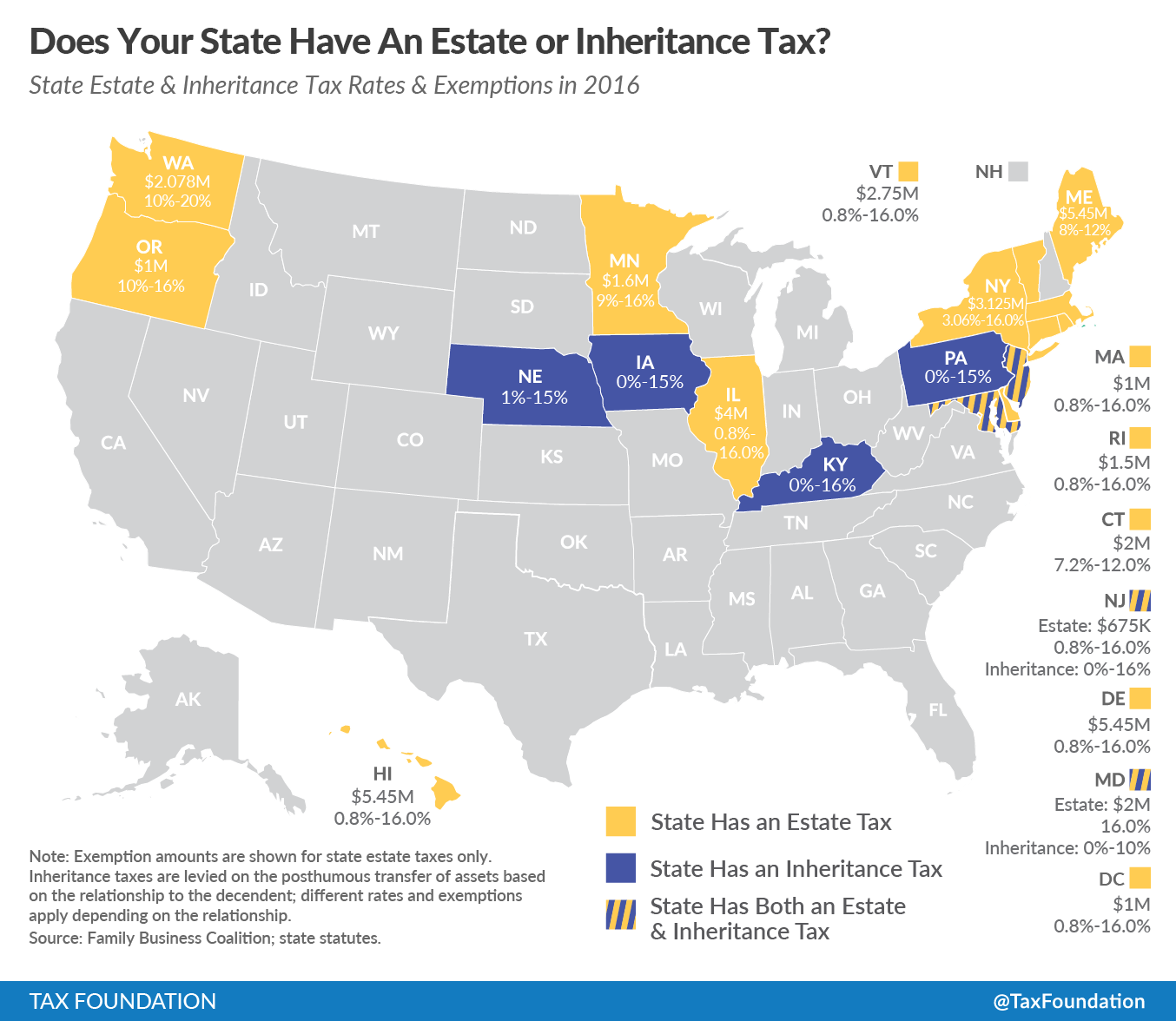 Does Your State Have An Estate Or Inheritance Tax Tax Foundation - Us state tax map