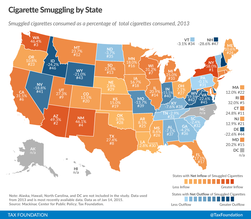 Cigarette Taxes And Cigarette Smuggling By State Tax - Smoking rates us map
