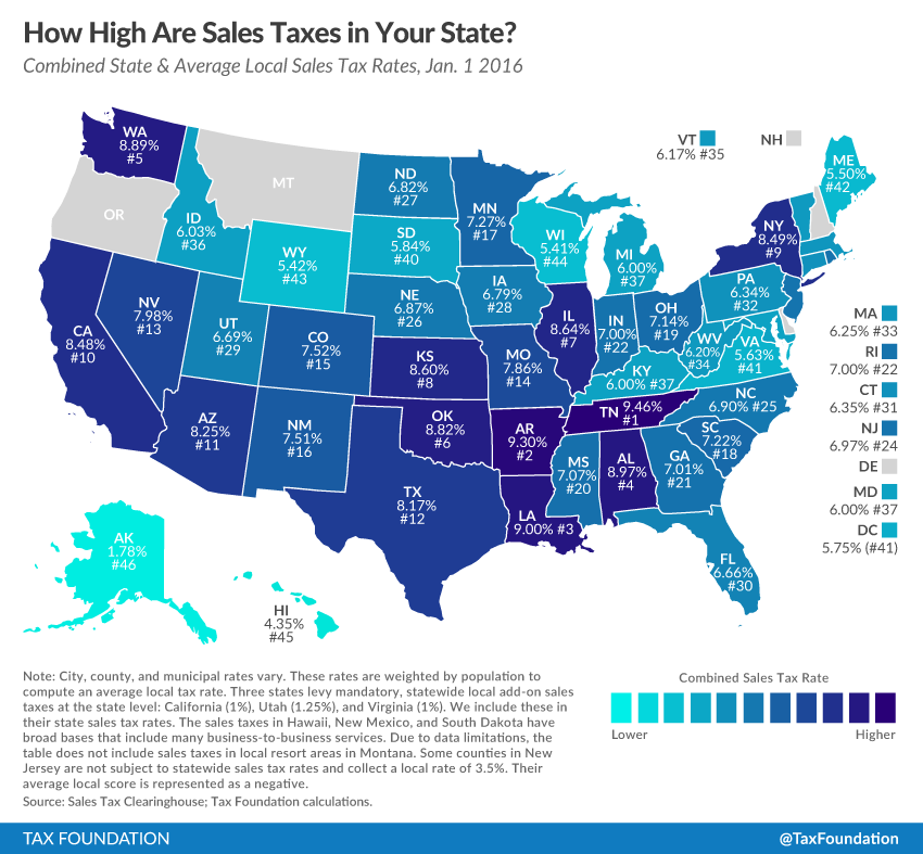 Super State And Local Sales Tax Rates In 2016 Tax Foundation Interior Design Ideas Clesiryabchikinfo