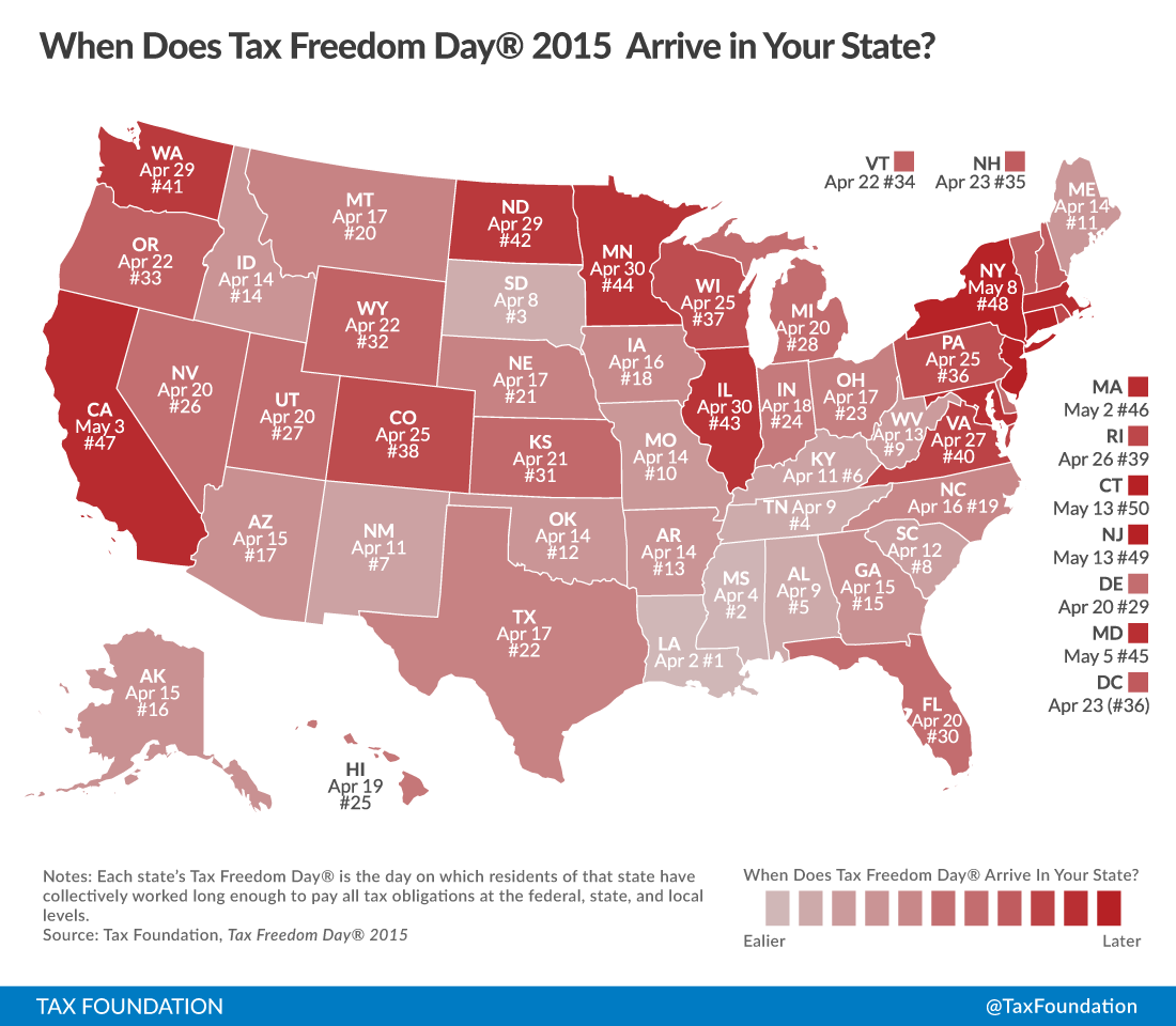 When Will Your State Reach Tax Freedom Day In Tax Foundation - Property tax map us 2016