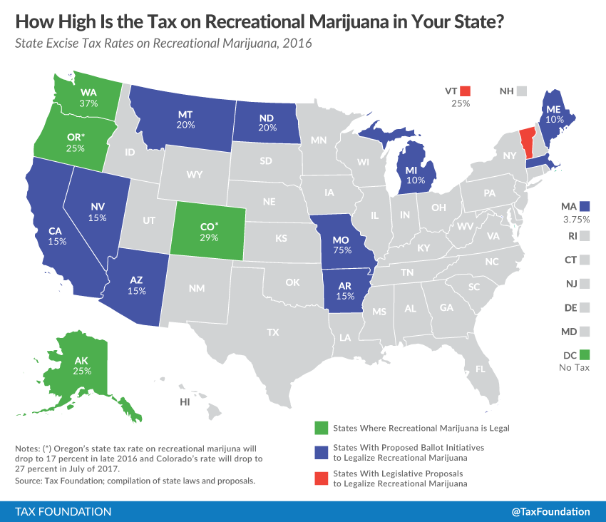 Marijuana Taxes Lessons From Colorado And Washington Tax Foundation - Us map on weed laws