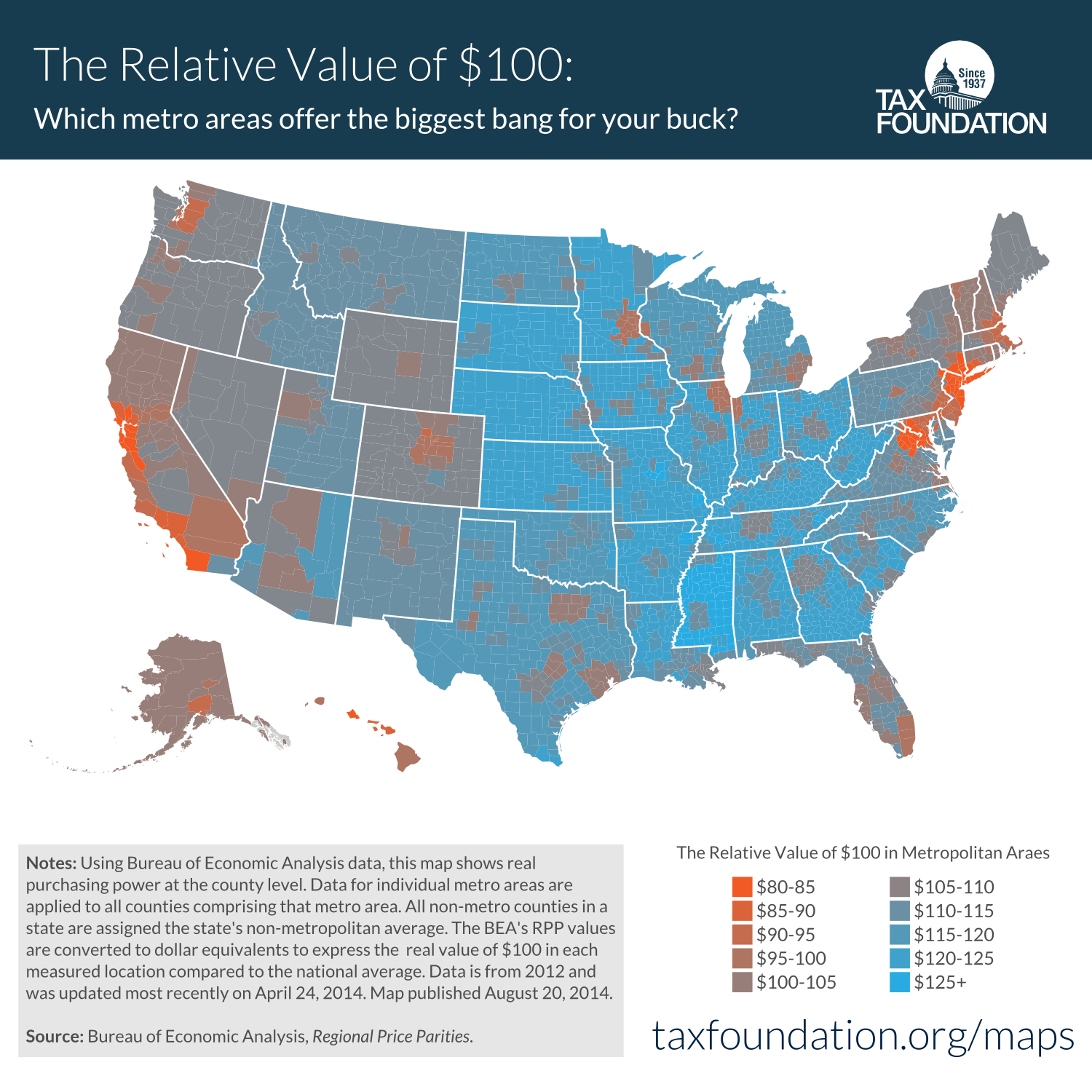 The Real Value Of In Metropolitan Areas Tax Foundation - Cost of living us map