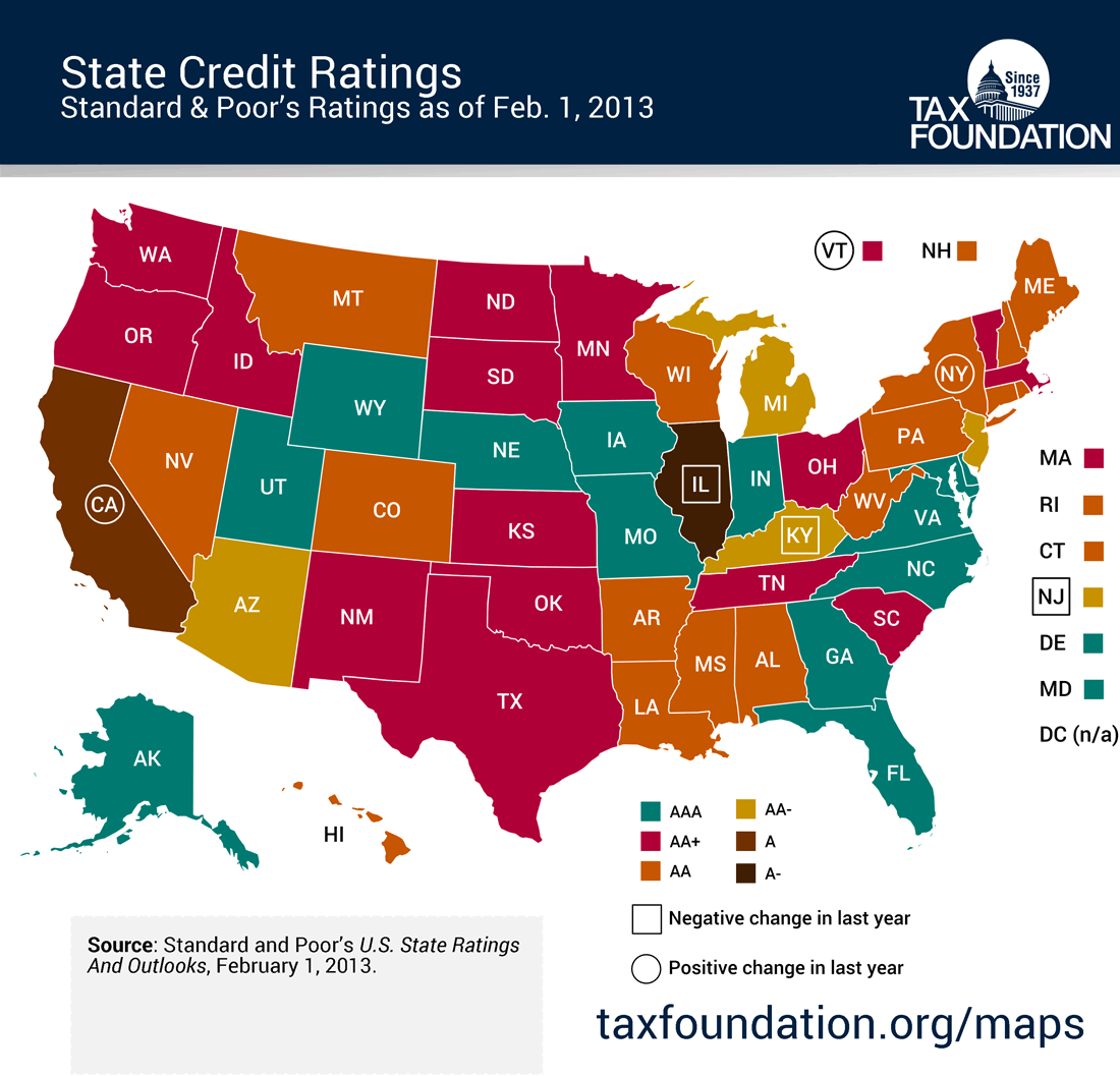 Monday Map State Credit Ratings Tax Foundation - Does aaa have maps of the us