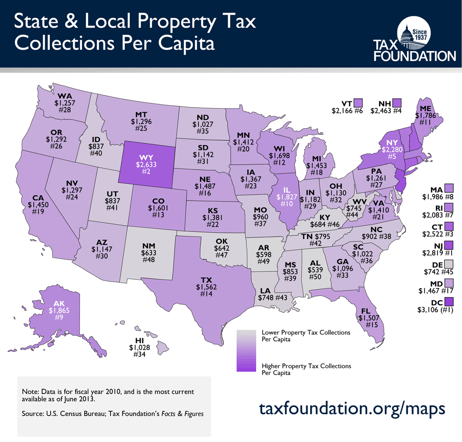 Monday Map State & Local Property Tax Collections Per Capita