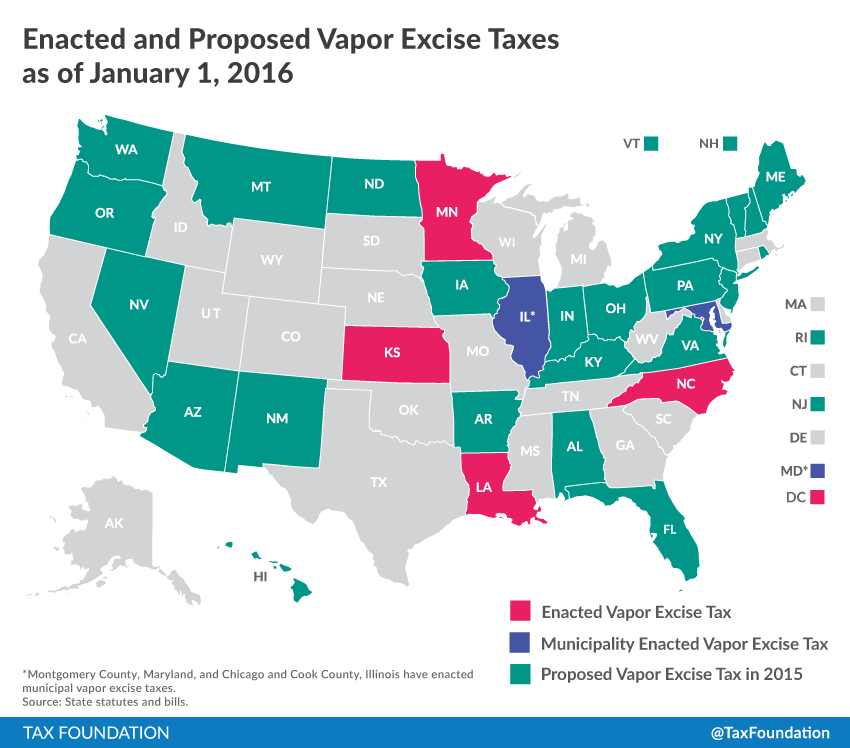 Map Has Your State Proposed Or Enacted A Vapor Excise Tax Tax