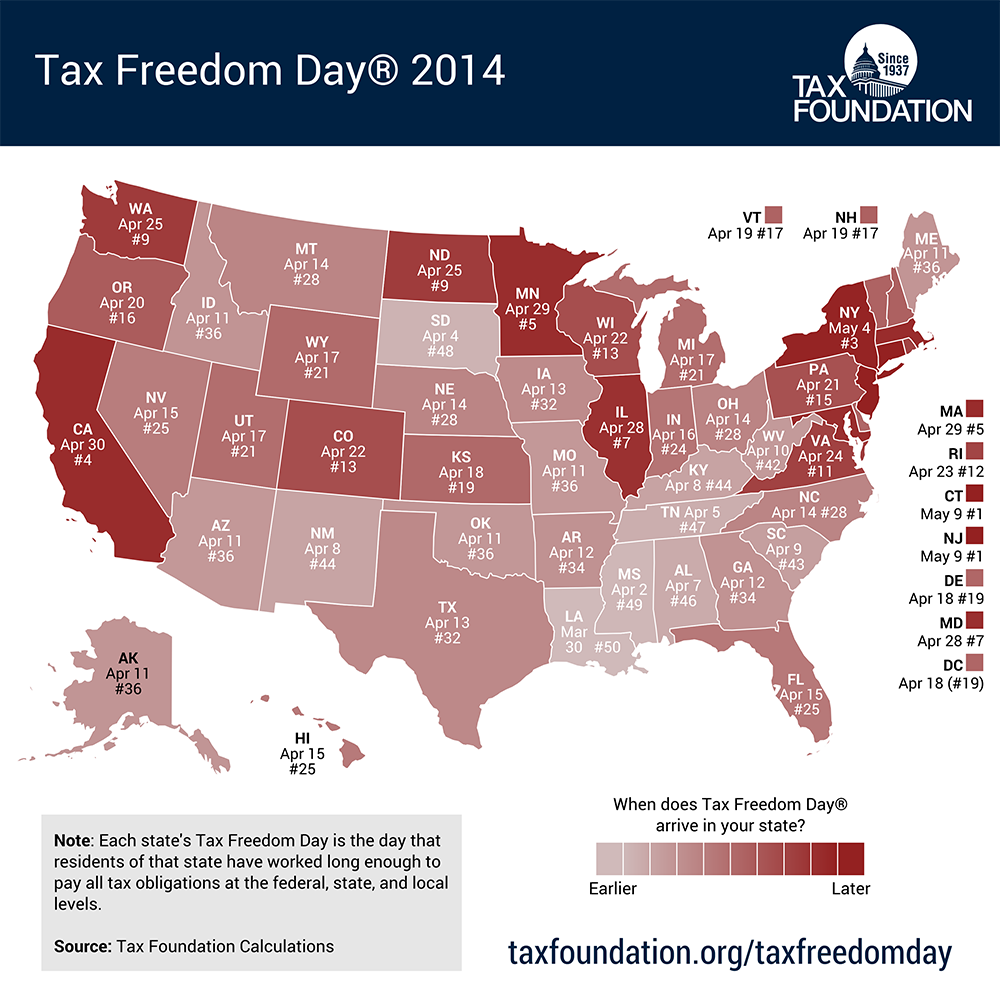 Tax Freedom Day Arrives In Final Two States Connecticut And New - Us state tax map