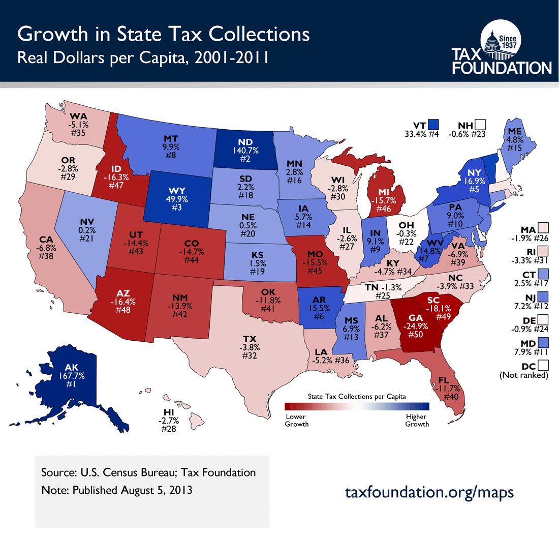 Monday Map Growth in State Tax Collections 20012011 Tax