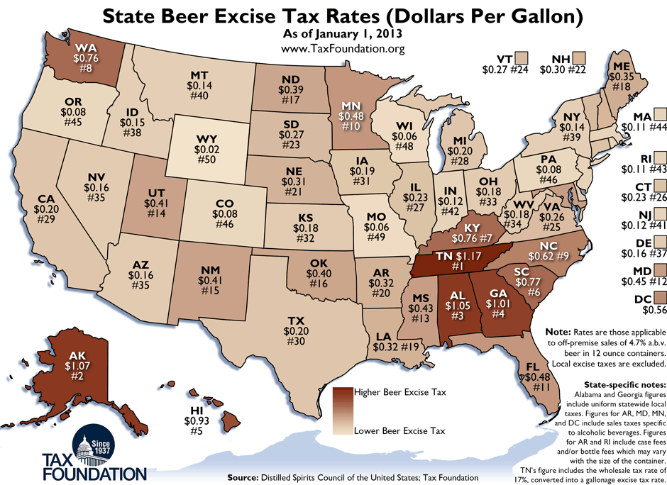 Wisconsins State Beer Excise Tax Is Third Lowest - Printable us map with states and capitals