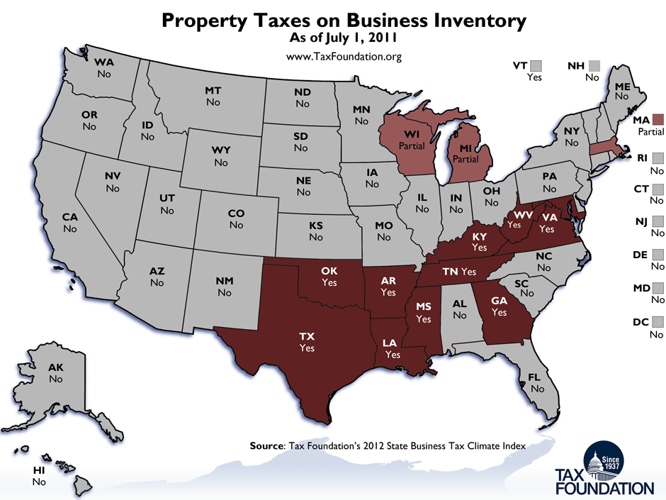 Monday Map Property Taxes on Business Inventory Tax Foundation