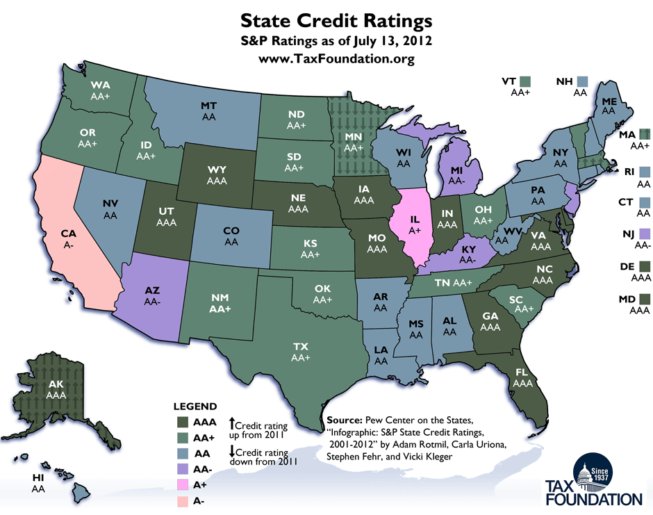 Monday Map: State Credit Ratings as of July 13, 2012 | Tax ... on map of usa 1790, original 13 us states, 1st 13 states, map of seven cities, revolutionary war 13 states, map of five nations, united state map 13 states, map of asia pacific region, map of mid-atlantic region, 13 colonies states, map of industrialized world, map of united sates,